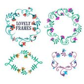 Doodle  hand drawn flower frames — Stock Vector