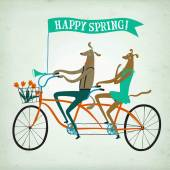 Lovely dogs cyclists spring  illustration — Stock Vector