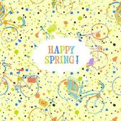Colorful spring bicycles pattern with frame — 图库矢量图片