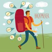 Backpacker illustration — Stock Vector