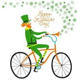 Cute elf leprechaun on city bicycle with clover — Stock Vector