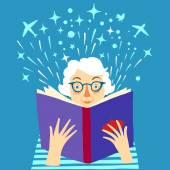 Lady reading a book cartoon illustration — Stock Vector