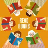 Set of cartoon  people reading books — Stock Vector