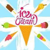 Hand drawn ice cream set — Stock Vector