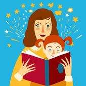 Mother reading a book for her child illustration — Stock Vector