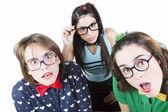 Girls looking surprised — Stok fotoğraf