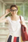 Teacher holding glasses — Stock Photo