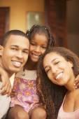 Family posing outdoors — Stock Photo