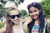 Girls posing outdoors — Foto Stock