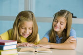 Cute girls studying togather — Stock Photo