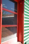Window with red frame — Stock Photo