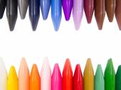 Full color crayon horizontal head to head irregular — Stock Photo