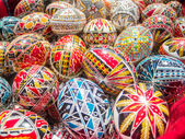 Traditional romanian handcrafted nicely decorated easter eggs — Photo