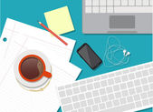 Flat design vector illustration of workstation — Vetorial Stock