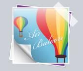 Vector holiday cartoon postcard with air balloon — Vettoriale Stock