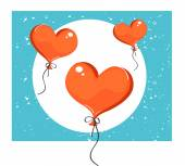 Illustration of red heart-shaped balloons. — Stockvektor
