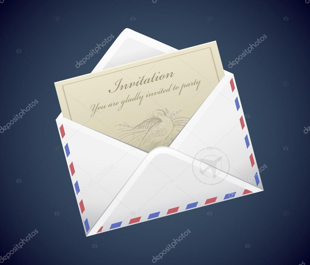 brief-einladung im umschlag — stockvektor © delices_89 #64302701, Einladungen