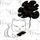 Cat reading smartphone vector — Vecteur
