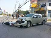 Crash Accident Pickup Truck And Motorcycle — Stock fotografie