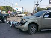 Crash Accident Pickup Truck And Motorcycle — Stock Photo