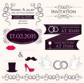 Set of wedding invitation design elements — Stock Vector