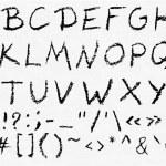 Hand written vector charcoal uppercase english alphabet — Stock Vector #73922305
