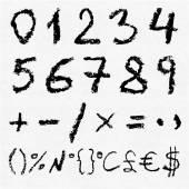 Hand written vector charcoal numbers — Stock Vector