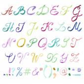 Hand drawn watercolor alphabet. — Stock Vector