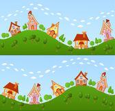 Little fairy houses — Stock Vector