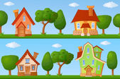 Summer streets with houses and trees — Stock Vector