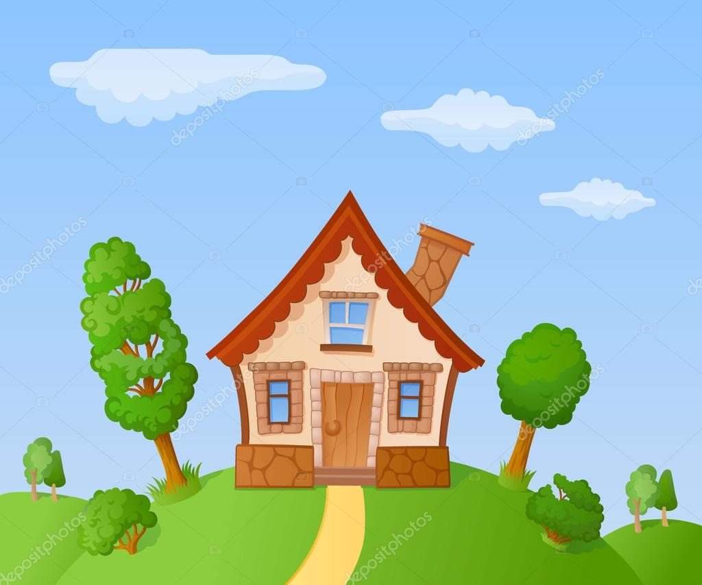 Peque a casa de dibujos animados vector de stock for Imagen de lavaderos para casas