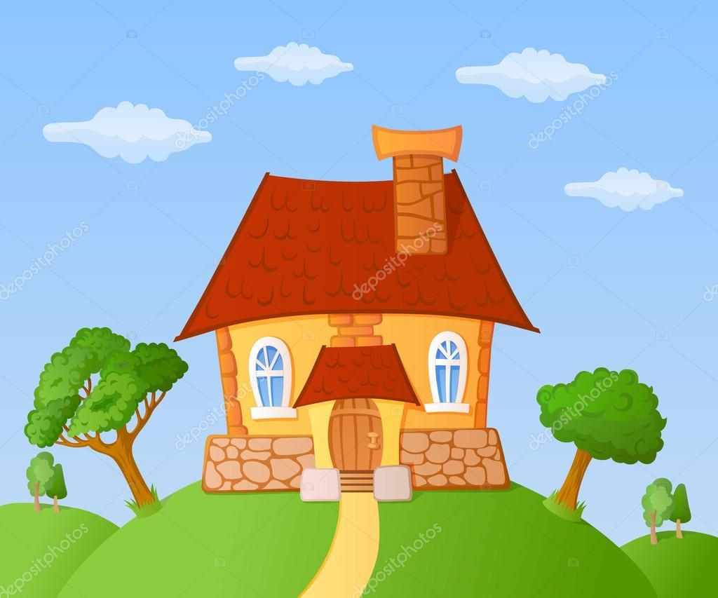Casitas Peque 241 A Casa De Dibujos Animados Vector De Stock