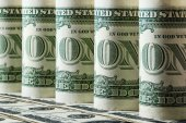 Rolls of one dollar bills — Stock Photo