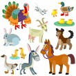 Cartoon domestic animals set — Stock Vector #61827927