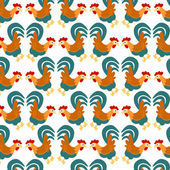Cartoon rooster pattern — Stock Vector