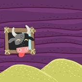 Funny bull eats hay — Stock Vector