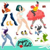 Sexy girl paper doll set — Stock Vector