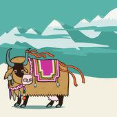 チベットのヤク — ストックベクタ