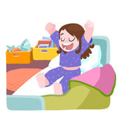 Little girl woke up and stretching in bed — Stock Vector
