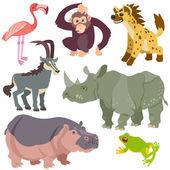 Cartoon afrikaanse dieren set — Stockvector