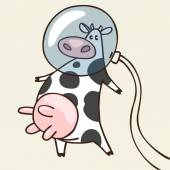 Cow in space — Stock Vector