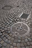Cast iron drain cover — Stock Photo