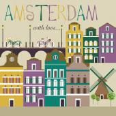 Amsterdam card — Stock Vector