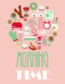 Morning time set — Stock Vector