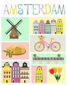 Amsterdam set — Stock Vector