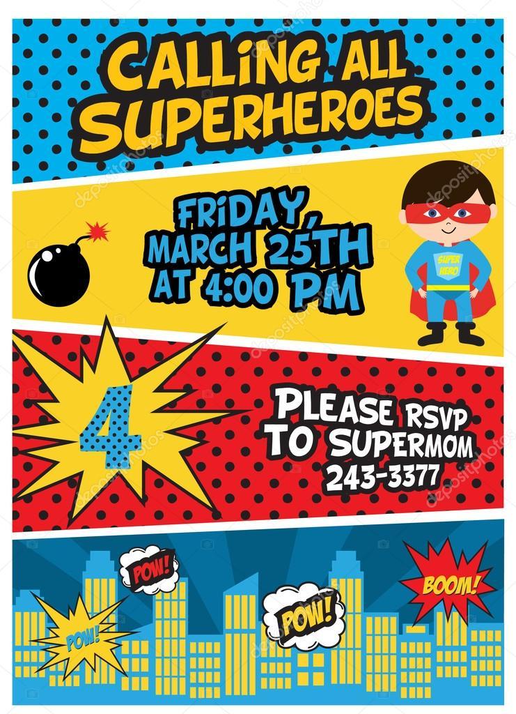 Fiesta de cumpleaños del Super héroe — Vector de stock ...