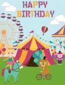 Circus Birthday party — Stock Vector