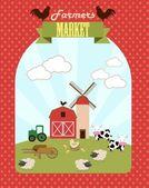 Farmer market invitation — Stock Vector