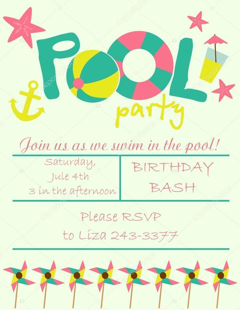 pool party invitation  stock vector © miobuono, Party invitations