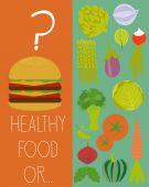 Vegetarianism and healthy food — Stock Vector